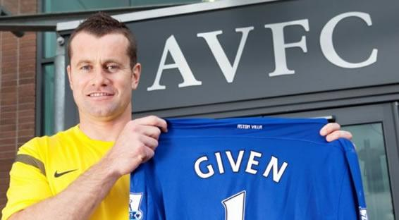 Shay Given with the Aston Villa shirt